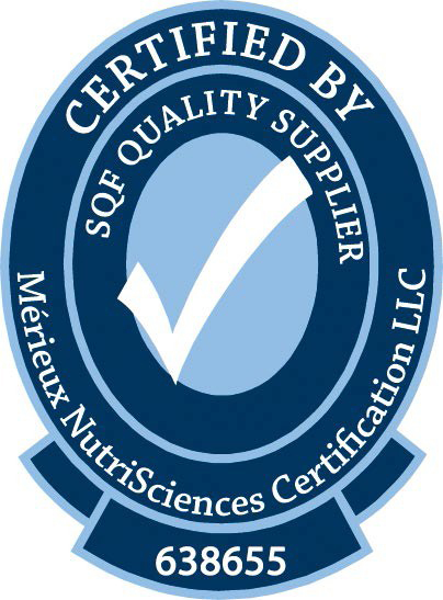 Certified By SQF Quality Supplier. Merieux NurtriSciences Certification LCC. 638655
